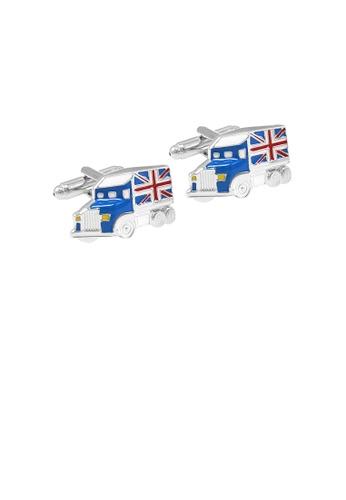 Glamorousky silver Fashion Creative Blue British Car Cufflinks 47FC0AC2D988D0GS_1