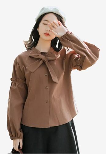 Lara brown Self-Tie Neck Blouse D746EAA32096AFGS_1