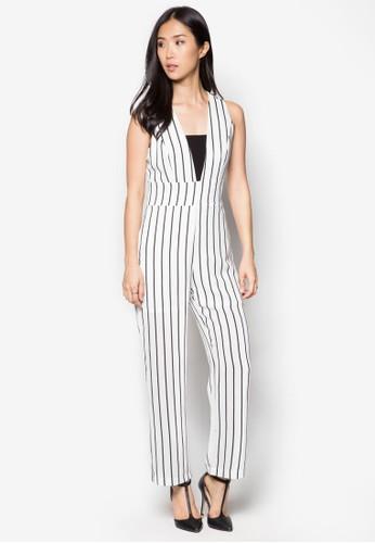 直條紋連身esprit 衣服長褲, 服飾, 服飾