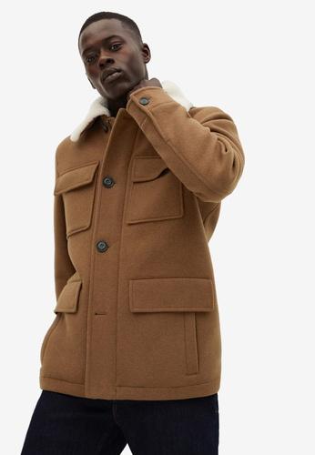 Mango Man brown Faux-Shearling Wool-Blend Jacket 4FD3FAA2B77D53GS_1