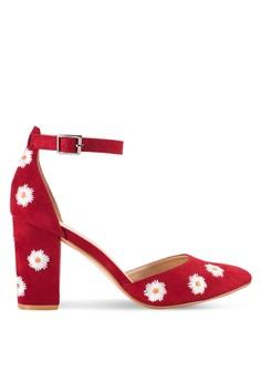 【ZALORA】 花卉印花繞踝粗跟鞋