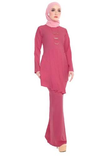 SARIMA pink Kurung Pleated Modest Fashion Dark Pink DF6EDAA62D505AGS_1