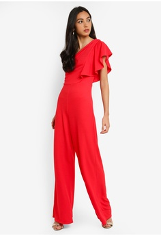 227b558e377738 Miss Selfridge Red One Shoulder Jumpsuit RM 279.00. Available in several  sizes