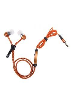 Tangle Free Zipper Type Headset with Mic - Orange