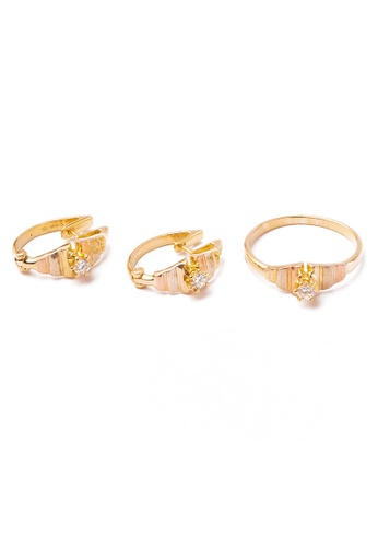 CEBUANA LHUILLIER JEWELRY gold 14 Karat Yellow Gold Earrings And Ring Set With Diamond A064FAC3299459GS_1