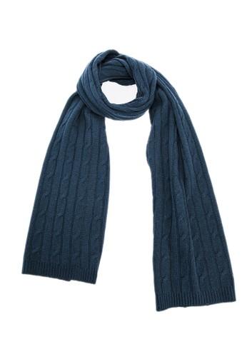 坑條紐繩保暖圍巾 - esprit台灣官網墨綠, 飾品配件, 披肩