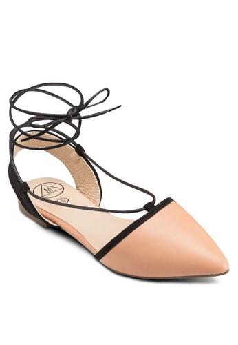 撞色繞踝繫esprit手錶專櫃帶尖頭平底鞋, 女鞋, 鞋