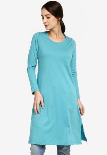 Aqeela Muslimah Wear blue Basic Mini Jubah Top 4C2C2AAC81DFD6GS_1