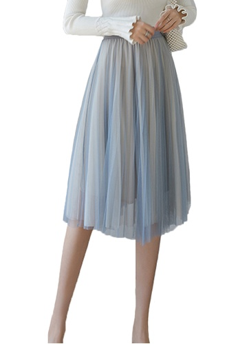 Halo blue and beige Layered Net Yarn Midi Skirt DBE47AA6DA8282GS_1