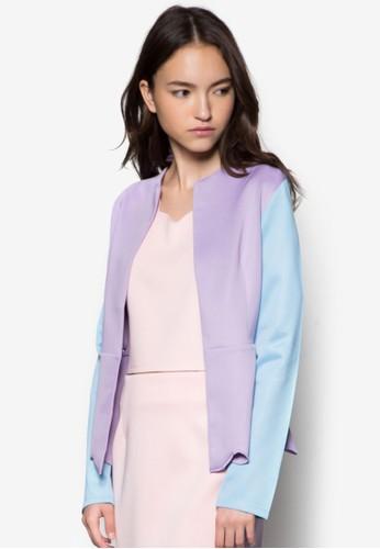 esprit outlet 家樂福荷葉下擺雙色外套, 服飾, 夾克 & 大衣