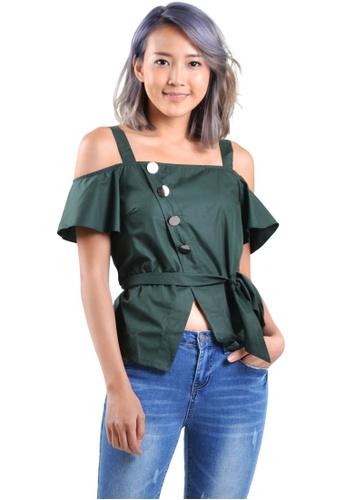 Kitschen green Off-Shoulder Button Sleeve Top 34FF3AA4302B45GS_1
