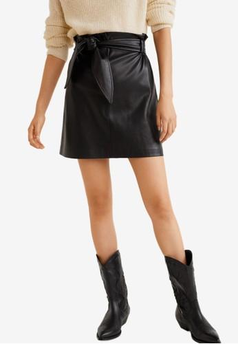 MANGO black Belt Miniskirt A202BAA6298FC4GS_1