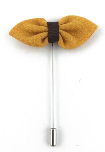 Splice Cufflinks silver Golden Yellow Fabric Bow Lapel Pin SP744AC84FJBSG_1