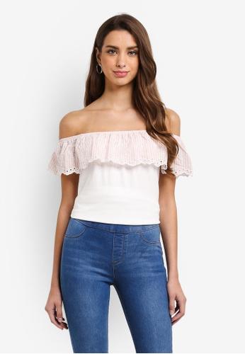 Dorothy Perkins white Ivy Pink Stripe Ruffle Bardot Top C0437AA9D95A05GS_1