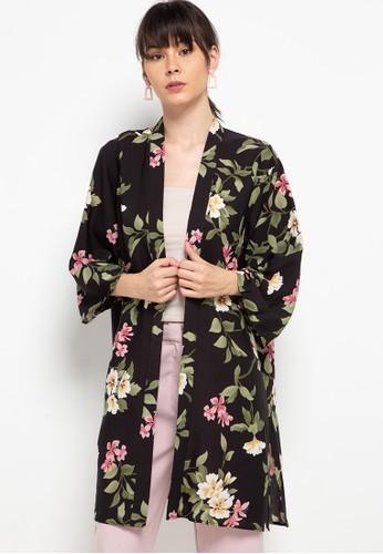 Chic Simple black Printed Kimono 4AB90AABBCB40BGS_1