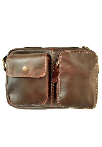LUXORA brown The Ninja Co. Top Grain Leather Sling Bag Shoulder Messenger Handbag Travel Accessory Gift A2DADACF164AF1GS_1