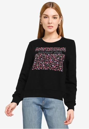 ONLY black Milla Long Sleeve Leo Sweatshirt 27000AAD910741GS_1