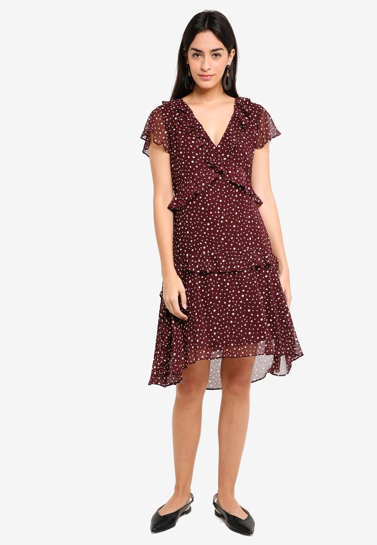 Flutter Max Multi Sleeve Studio Dress Bordeaux Dot Vary Woven Cream Ruffled qIadwAAz