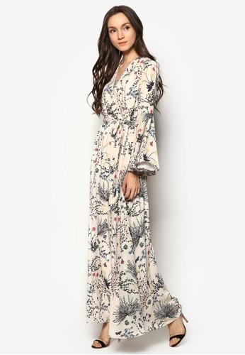 花卉印花喇叭袖長洋裝esprit鞋子, 服飾, 洋裝