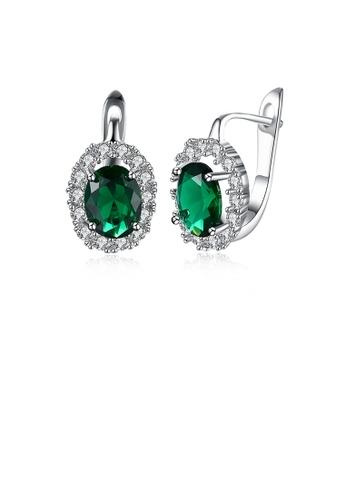 Glamorousky green Elegant Fashion Geometric Oval Green Cubic Zircon Earrings 73622AC154F16AGS_1