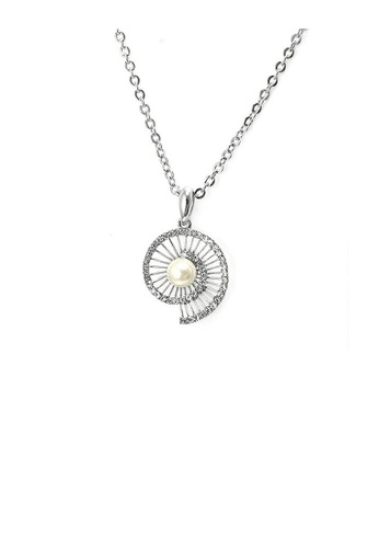 Glamorousky white Twinkling Shell Pendant with Silver Austrian Element Crystals and White Fashion Pearl and Necklace E7923AC2ABFD1FGS_1
