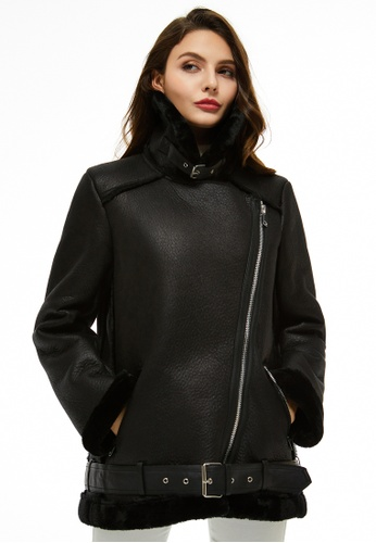 London Rag black Faux Leather Belted Jacket With Faux Fur Collar AAC1CAA8D0ADC8GS_1