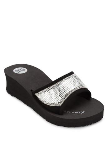 Bay 閃鑽中楔形拖鞋,zalora 順豐 女鞋, 拖鞋