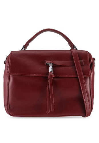 Unisa red Faux Leather Convertible Top Handle Bag 0435EACA866CECGS_1