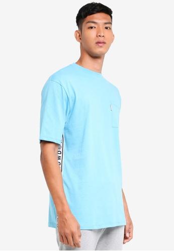 Topman 藍色 短袖印花滾邊T恤 12C18AA53473A3GS_1