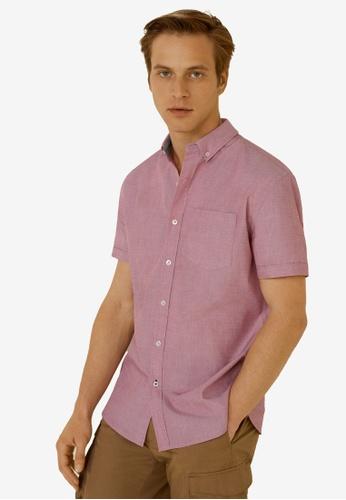 Mango Man 紅色 Regular Fit Pocket Cotton Shirt C3389AAF82338BGS_1