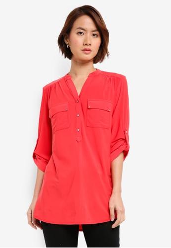 Wallis red Red Longline Shirt C3C0BAAE1F496EGS_1