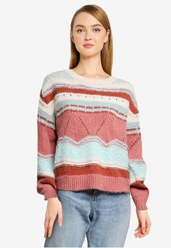 Vero Moda pink Boho Striped Sweater 6D8A7AA3CE6F7EGS_1