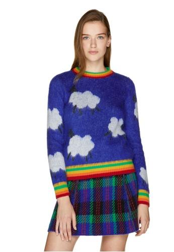 United Colors of Benetton 藍色 圓領配色針織上衣 C7274AA47E818EGS_1