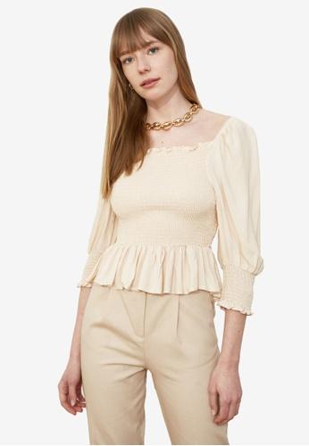 Trendyol beige Shirred Ruffle Puff Sleeve Top 79568AA2B6051BGS_1