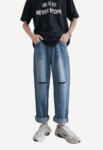 hk-ehunter navy Men's Shredded Pants 53AB9AA6303157GS_1