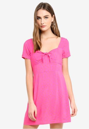 Factorie multi Woven Tie Front Short Sleeve Dress D199BAAF9E8CD8GS_1