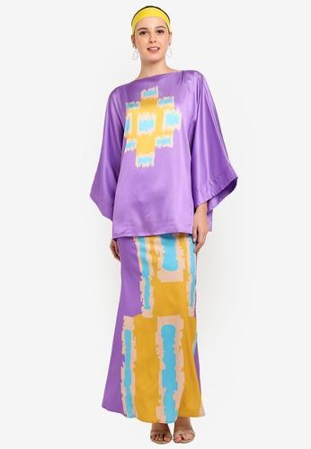 Flores Kimono Kurung from Tom Abang Saufi for ZALORA in Purple