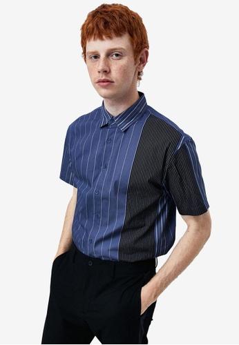 Urban Revivo blue Striped Short Sleeves Shirt 52D31AA5E942CEGS_1