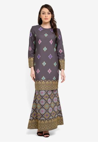 Butik Sireh Pinang grey Kirana Cotton Modern Kurung with Songket Print BU003AA0S26PMY_1