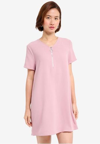 ZALORA pink O Ring Shift Dress CF099AAE25A65DGS_1