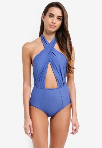 Malibu Beachwear blue Atelier Cross Wrap One-Piece Swimsuit 6F521US2212CC8GS_1