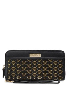 Perforated Facile Ladies Zip-Up Clutch Wallet