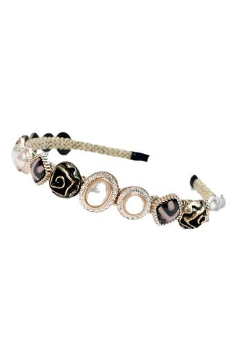 Kings Collection black Baroque Faux Pearl Headband (HA20070) 91AADACA76F156GS_1