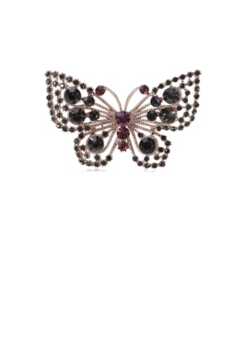 Glamorousky black Fashion and Elegant Plated Gold Hollow Butterfly Brooch with Black Cubic Zirconia 98797AC609C88BGS_1