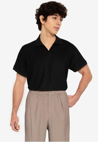ZALORA BASICS black Henley Polo Shirt 43756AA9155FF0GS_1