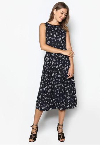 葉子印花過膝洋裝, 服飾, zalora 男鞋 評價正式洋裝