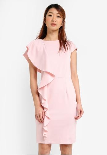 Dorothy Perkins pink Petite Frill Scuba Dress DO816AA0SRDTMY_1