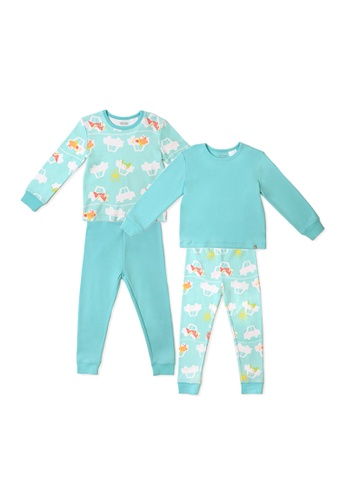 OETEO white and green and multi Road Trip Jammies 4-Piece Bundle Set (Green) E6051KAF1AB7AEGS_1