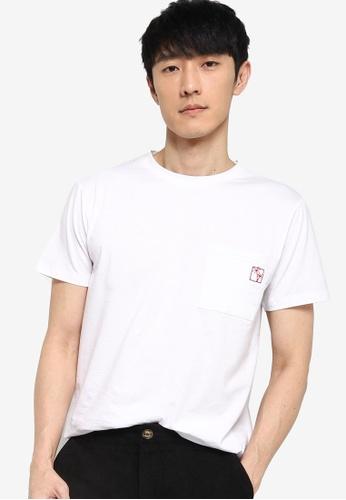 ZALORA BASICS white Embroidered Pocket T-Shirt 8D9BDAA53786F3GS_1