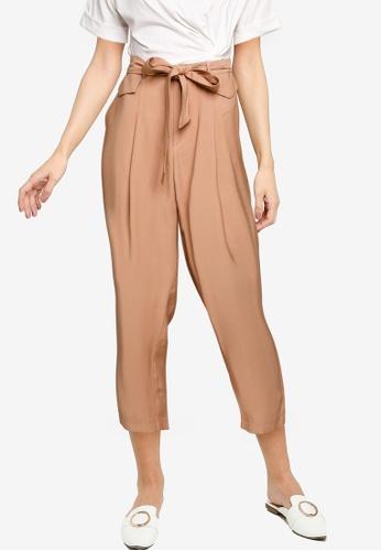 Nichii 米褐色 Tie Front Tapered Pants C647EAA98C3906GS_1